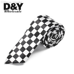 "Wholesale Men S Necktie Plaid - Wholesale-Hot 2 Inch wide Fashion""White Black Checkered   Plaid"" Pattern Necktie Woven Classic Skinny Necktie Men`s Party Ties"