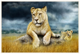 Wholesale Big Cat Paintings - Big Cats Lions, Home Decor HD Printed Modern Art Painting on Canvas   Unframed   Framed
