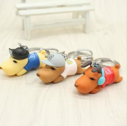 Wholesale Dog Ring Jewelry - 3D Pet Dog Keychains figure Cute Dogs Key Ring Car Keychain jewelry bag key Ring bag charm Woman jewelry Christmas pendant gift KKA3599