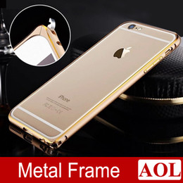 Wholesale Thinnest Metal Iphone 5s Bumpers - Metal Bumper Double Color Hard Frame For iphone 6   6 Plus 5s Ultra Thin Aluminum Circle Arc No Screw Hippocampus Buckle DHL free