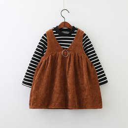 Wholesale Corduroy Shirt Dresses - Everweekend Kids Girls 2pcs Sets Striped Long Sleeves Tops Shirt and Corduroy Suspender Dress 2 pcs Sets Children Outfits