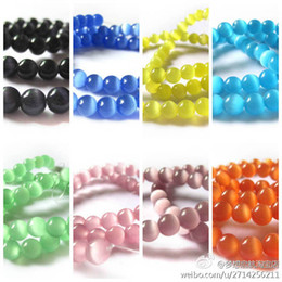 Wholesale Eye Cat Beads - Wholesale-Free Shipping 2strands 6mm Cat eye beads Round Fashion beads multi-color for jewelry making