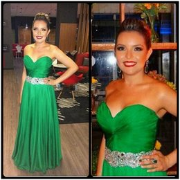 Wholesale Rabbit Navy - Sexy Sweetheart A Line Chiffon Beaded Long Green Rhinestone Prom Dresses 2016 Jessica Rabbit Dress Backless Court Train