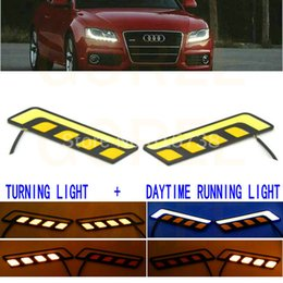 Wholesale Wholesale Led Truck Lighting - New COB LED DRL Daytime Running Lights White with Turning Signal Lights Yellow Amber for car trucks