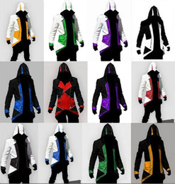 Wholesale Hot Assassin Costume - 2015 Hot Sale Custom Fashion Assassins Creed 3 III Connor Kenway Hoodies Costumes Jackets Coat 12 colors choose direct from factory