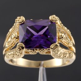 Wholesale 18k Gold Plated Amethyst Ring - Size 9, 10,11 Vintage Big Purple Amethyst Solitaire Gemstone 18K Yellow Gold Filled Claw Ring for Men Free Shipping