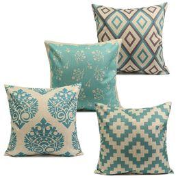 Wholesale Flower Shaped Pillow - Wholesale-1Pcs 45cm*45cm Comfortable Back Throw Wedding Cushion Pillow Case Cover Blue Flower Shape Rhombus Cotton Linen Home