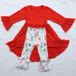 Wholesale Dovetail Dresses - Boutique Long Sleeve Christmas Deer Baby Girls Outfits Suits Christmas Dovetail Tulle Long Style T-shirt Dress + Leggings Pants Sets A7814