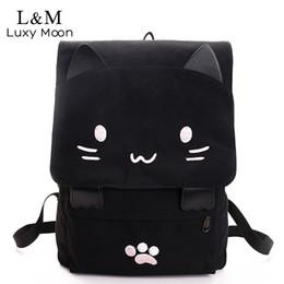 Wholesale Teenage Girl Canvas Backpacks - Cute Cat Canvas Backpack Cartoon Embroidery Backpacks For Teenage Girls School Bag Casual Black Printing Rucksack Mochilas XA69H