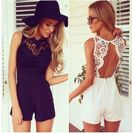 Wholesale Lace Rompers Dresses - Fashion Summer Lace Jumpsuits Rompers Womens Sexy Sleeveless Backless Short pants Beach Playsuit Dress Jumpsuit Casual Party Bodysuit B61