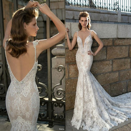 Wholesale fitted lace mermaid wedding dress - Berta Bridal 2017 Stunning Mermaid Lace Wedding Dresses Sexy Spaghetti Straps Crystal Fitted Backless Court Train Bridal Gowns