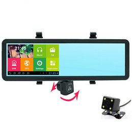 Wholesale Rearview Camera Gps Dvr - 5 inch Android Rearview mirror Car DVR GPS Navigator 1080P Mirror Monitor Dash Cam Dual Lens Camera Navitel or Europe Free map