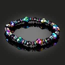 Wholesale Rainbow Shipping - New Rainbow Magnetic Hematite Bracelet for Men Women Power Healthy Bracelets Wristband Fashion Jewelry Gift Drop Shipping
