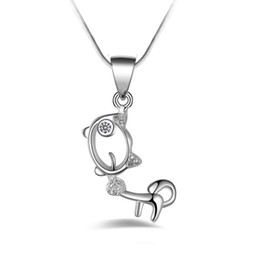 Wholesale 925 Silver Dog Chain Necklace - Free shipping fashion high quality 925 silver Dog with White diamond jewelry 925 silver necklace Valentine's Day holiday gifts Hot 1677