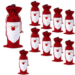 Wholesale Christmas Decoration Wholesale Suppliers - Red Wine Bottle Cover Bags Christmas Dinner Table Decoration Home Party Decors Santa Claus Christmas Supplier Free Shipping
