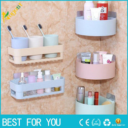 Wholesale Hung Toilets - New Triangle Strength Sucker Bathroom Shelves Wall Hanging Toilets Storage Rack Useful Bath Convenience Organizer Supplies