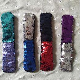 Wholesale Wholesale Slap Bands - Double color Sequins Bracelet mermaid Scales PAPA Bracelet Sequins Scales PAPA Bracelet Slap Wrist Band KKA3570