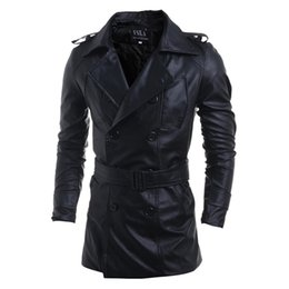 Wholesale Double Breasted Pu Leather Jacket - hot sale PU Leather long Sleeve Men Coats Winter Slim Fit Mens Trench Coat Casual Jackets Men's Clothing