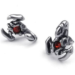 Wholesale Scorpion Stud Earrings - Mens Cubic Zirconia Stainless Steel Red Gothic Scorpion Stud Earrings,wholesale fashion jewelry in usa