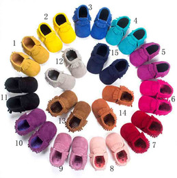 Wholesale Baby Coral Fleece Fabric - 15 Color Baby moccasins soft sole Coral fleece first walker shoes baby newborn Matte texture shoes Tassels shoes 90pairs=180pcs