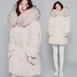 Wholesale New Korean Down Jacket - Korean Pink 2017 New Winter Down Parka Women Large Raccon Fur Hooded Jacket Thicken Slim White Duck Down Warm Outwears