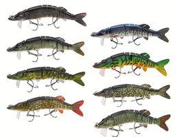Segmento Pike Lure com Boca Swimbait Crankbait Pike Muskie Isca De Pesca Isca De Pesca Enfrentar 12.5 cm 20g de