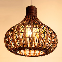 Wholesale handmade lamps - Southeast Asia Rattan Garlic Dining Room Ceiling Pendant Light Rattan Woven Pendant Lamp Handmade Study Room Restaurant Pendant Chandeliers