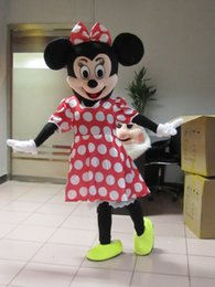 Wholesale Minnie S - Hot Sale! Red Minnie Mouse mascot costume, Adult Size Fancy Dress Holloween Costume,EPE Head + Free shipping