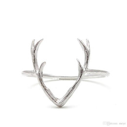 Anillo de asta de ciervo simple, anillo de ciervo, regalo de Navidad / regalo, anillo de cuerno de reno, anillo de animal en Oro Plata jl-078 desde fabricantes