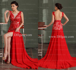 Wholesale Simple Fashion Stylish - 2015 Sexy Prom Dresses Sheer Scoop Lace Appliqued Bodice High Quality Prom Dress Backless Red Evening Gowns Stylish Slit Front Gowns GD-055