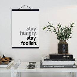 Wholesale Motivational Wall - Modern Motivational Stay Hungry Stay Foolish Quote Wooden Framed Canvas Painting Home Decor Wall Art Print Picture Poster Hanger