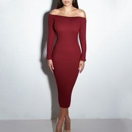 Wholesale Knitted Chiffon Dress - Sexy Club Dress 2017 Women Winter Party Dresses Off The Shoulder Knitting Sweater Bodycon Long Maxi Dress Vestidos