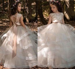 Wholesale Ivory Wedding Dress Beaded Sash - Tiered Ruffles Tulle Ball Gowns Girls Pageant Dresses Bow Floor Length Flower Girl Dress Lace Beaded Bateau Cap Sleeves Kids Wedding Dresses