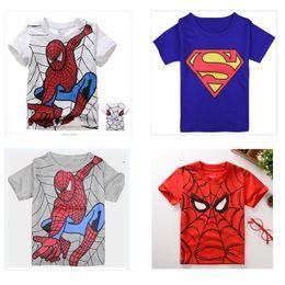 Wholesale Boys Short Sleeve Superman Top - 2016 Summer Boys T-Shirts Short Sleeve Spiderman Tees Shirts Superman Children's Tops 100% Cotton