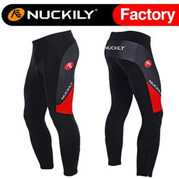 Wholesale Mens Cycling Pants Pads - Nuckily Powerful men's winter thermal fleece outdoor long pant mountain bike mens padded cycling long tight MF010