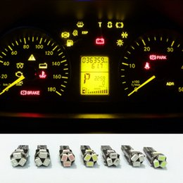 Wholesale ford ignition - Automotive Led T5 Wedge 5-SMD 3020 12v Speedometer Instrument Cluster LED Light Bulb 37 73 Gauge Dashboards Indicator Ignition Light Bulbs