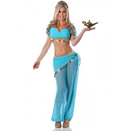 Wholesale Belly Dance Xxl - princess jasmine costume women adult Aladdin's Princess Jasmine cosplay halloween costumes for women Belly dance dress wholesale