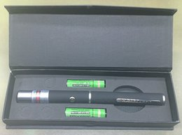 Wholesale Green Laser Pointer 5mw Box - 5mW Red Green Violet Beam Laser Pointer Pen Presentation Black for Teaching Training PPT with 2*AAA Battery + Gift Box Included