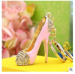 Wholesale Shoe Keyrings Wholesale - Crystal High Heels Shoes Key Chains Rings Holder Flower Enamel Bag Pendant For Car Gift Rhinestone Keyrings KeyChains K289