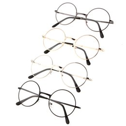 Wholesale Sale Designer Optical Frames - Wholesale-1 PC Hot sale Round Retro Metal Eyeglasses Frames Optical Circle Plain Mirror Clear Lens Designer Nerd Spectacles Eyeglasses