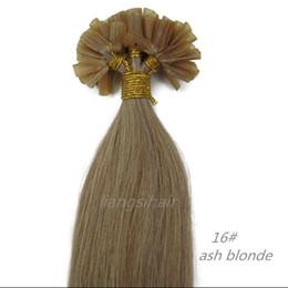 "Wholesale ash blonde hair - Brazilian Hair 7A Straight Style Brazilian Indian Peruvian Malaysian U-tip Remy Human Hair 15""-26"" 100s 16# Ash Blonde, Nail-hair extensions"
