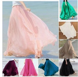Wholesale Long Straight Beach Skirts Women - New Fashion Summer Women Long Chiffon Skirts Vintage Lolita Skirts Womens Pleated Beach Maxi Skirt Saia Longa Plus Size mix color free ship