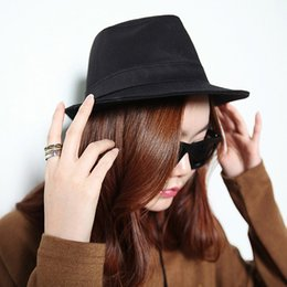 Wholesale British Top Hat Black - New Fashion Women Men Hat Curly Floppy Brim British Jazz Hip-Hop Fedora Hat Cap Unisex Black Top Quality chapeu GA0050
