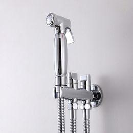 Wholesale Shower Jet Spray - 2015 Wholesale Luxurious Toilet Bathroom Weel Hand held Diaper Shower Set Shattaf Bidet Sprayer Jet Faucet Tap Douche kit Side Spray