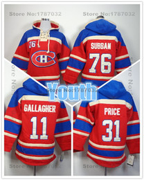 Wholesale Hoodie Youth - Factory Outlet, Cheap Youth Kids Montreal Canadiens Hoodies Old Time #31 Carey Price 11 Brendan Gallagher #76 P.K. Subban Hockey Hoodie S M