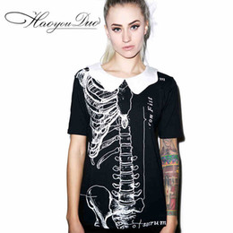 Wholesale Skull Top Plus Size - 2016 Summer New Short Sleeve Skull Skeleton Print Black Tshirt Cotton Plus Size Tops Europe T-shirt Peter Pan Doll Collar Women