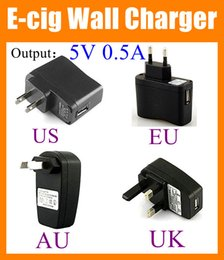 Wholesale Wholesale Battery Usb Plug - USB Wall Charger US EU UK AU Plug AC Power EGO usb charger 5v 500ma Adapter ego wall charger for Electronic Cigarette ego Batteries FJ006