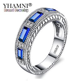 Wholesale Rectangle Wedding Rings - YHAMNI Luxury With 18KRGP Stamp White Gold Blue Rectangle Cubic Zirconia Wedding Rings for Women Fashion Jewelry Wholesale YR467