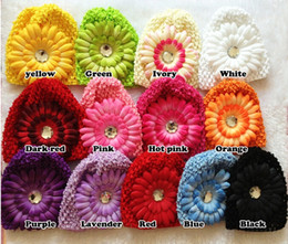 Wholesale Knitted Hats Kids For Summer - 20pcs Mixed Color Daisy Flower Rhinestone Baby Kids Children crochet Knitted Caps Beanie Hat 19 Color For choose
