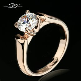 Wholesale Ladies Gold Diamond Ring - Elegant Round Cut CZ Diamond Engagement Rings 18K Rose Gold Plated Prong Fashion Cubic Zircon Wedding Jewelry For Men and Women Lady DFR054